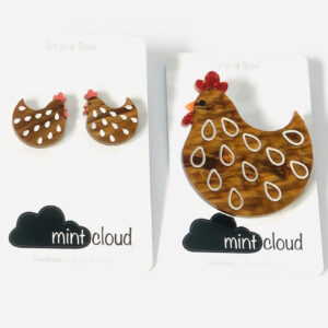 Hen House Small Brooch and Earrings